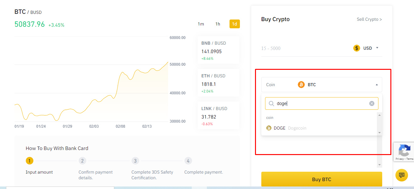 Search dogecoin in binance